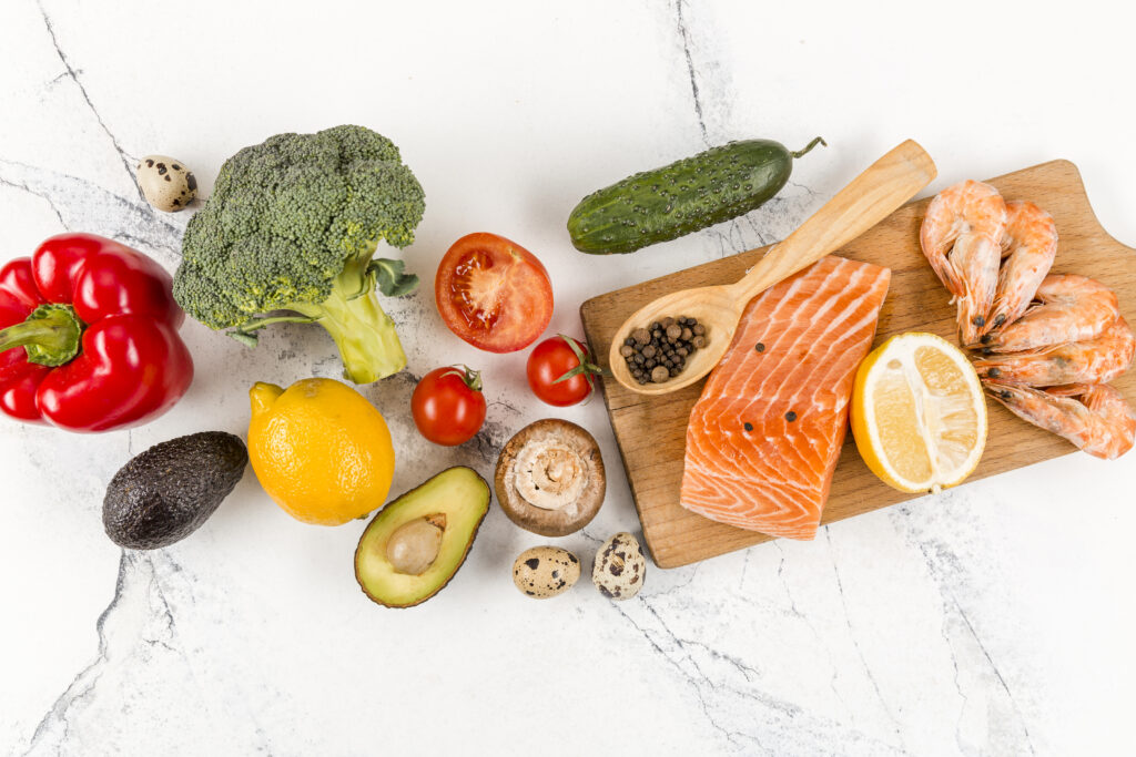 vegetables and salmon